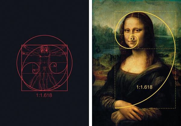 Der vitruvianische Mensch und die Mona Lisa von Leonardo da Vinci